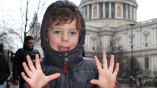 boy k-rates st paul's cathedral london in the rain