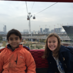 girl and boy on the emirates air line cable car