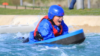boy tries hydrospeeding Lee Valley Water Sports