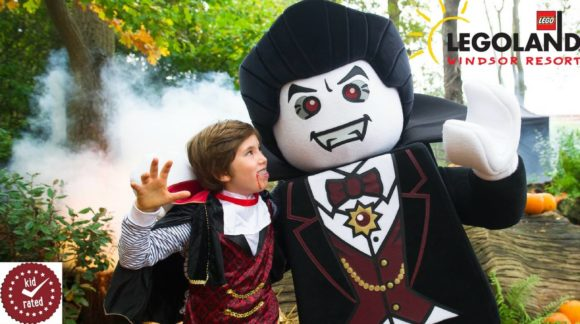 win a family ticket to legoland windsor resort boy dressed as vampire with lego vampire
