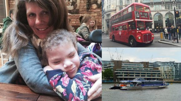 london bus thames clipper mother and daughter collage
