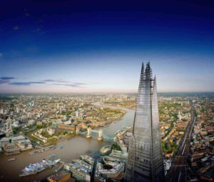 the top of the shard and the view including london attractions tower of london, tower bridge, the river thames and canary wharf