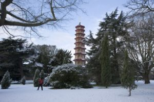 kew gardens pegoda in the snow in winter