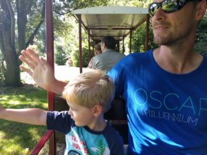 boy and dad on mini train at bressingham norfolk uk any way to stay kidrated