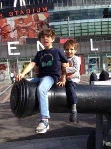 jason solomons' sons at the emirates stadium